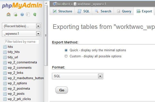 Export a MySQL database - Migrating WordPress