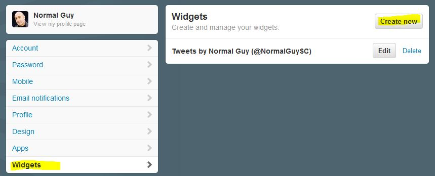 Twitter Feed - Create a Widget