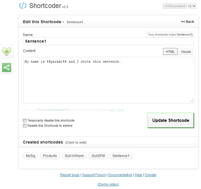 Shortcoder editor
