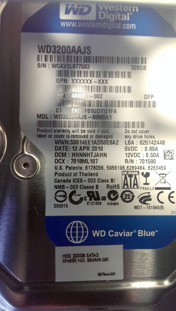 WD Caviar Blue 320 GB - repair